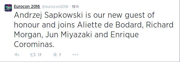"""alt=""""Andrzej Sapkowski, Eurocon 2016, invitado, Bcon 2016"""""""