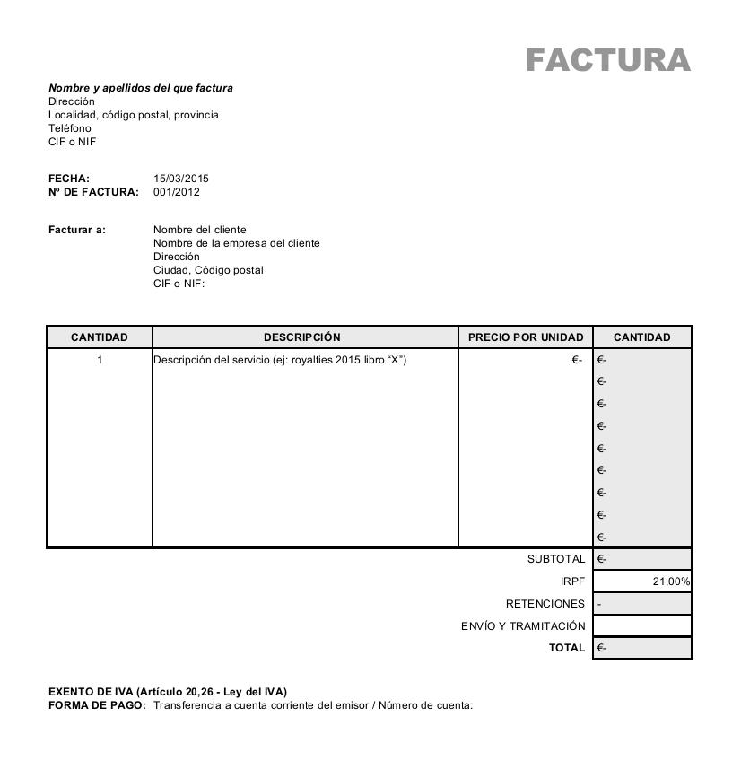 ejemplo de facturas